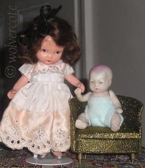 Nancy Ann Storybook doll bisque Elsie Marley silver slippers pudgy tummy 1940s Japan Ideal Petite Princess dollhouse chair 1960s all-bisque baby doll