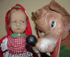 Lenci felt doll Little Red Riding Hood wolf