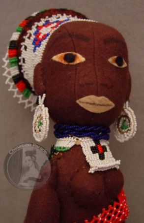 African doll beaded vintage wool felt beads black doll beading South Africa