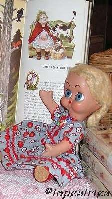 DeDo doll Italy A.D. Sutton flirty eyesLittle Red Riding Hood 1950s Tall Book of Nursery Tales Feodor Rojankovsky