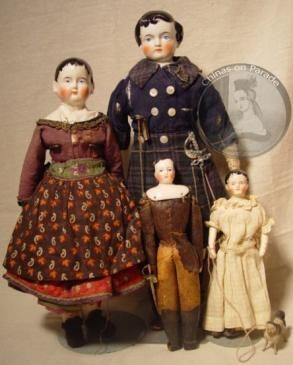 Antique china doll German Scotsman French Rohmer Joan of Arc papier-mâché dog