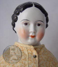 China doll Greiner-style antique brown-eyed 1850s