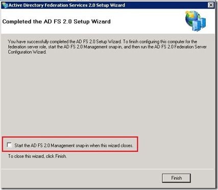 ADFS - install - uncheck box - markup