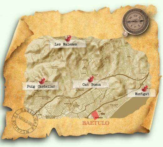 Mapa dels poblats ibèrics que envolten Badalona