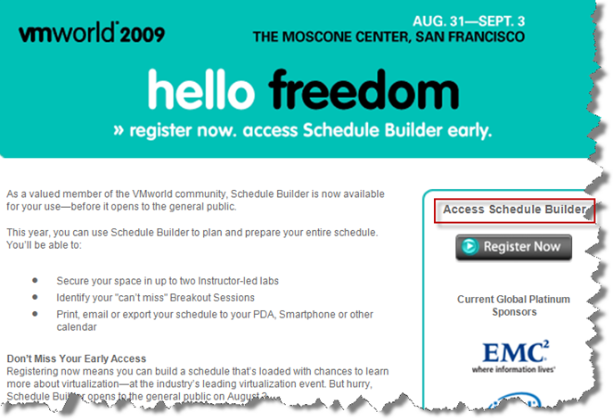 VMworld 2009 Schedule Builder – No more ridiculous lines! (Hopefully)