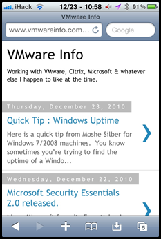 VMwareinfo.com on the iPhone