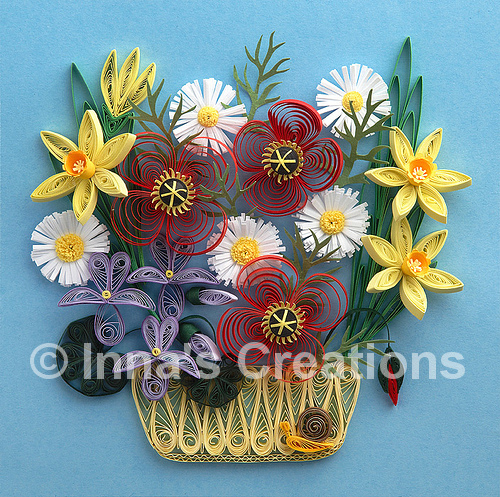 How To Make A Quilling Flower Basket : Inna s creations march