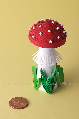 Mushroom. Three-dimensional quilling
