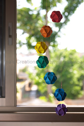 I promised to show in detail how to make paper ball ornaments for a garland,