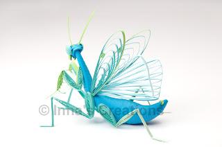 Quilled praying mantis, back