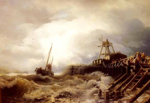 A_Fishing_Boat_Caught_In_A_Squall_Off_A_Jetty