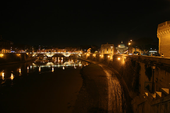 The same River Tiber and Ponte Angelo at night