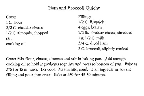68 Ham and Broccoli Quiche
