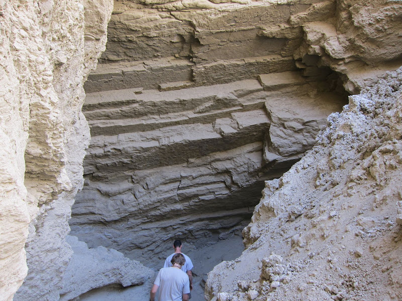 Mark and Andrew head into the slot canyon in Arroyo Tapiado