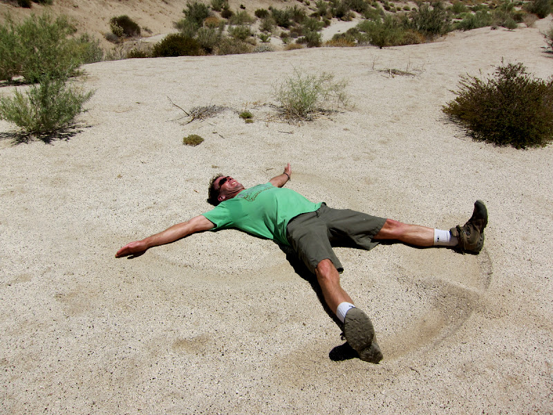 Bob makes a sand angel deep in the Anza Borrego Desert