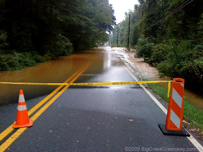 Water running over Kimball Bridge in Alpharetta