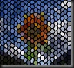 sunflower red stain glass