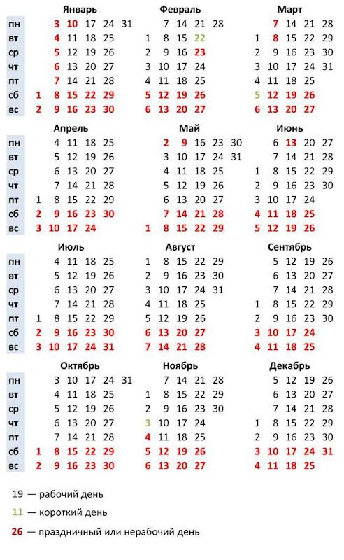 табель календарь на 2011 - 2012 учебный год
