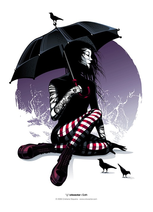 Girl With an Umbrella: Goth Digital Painting