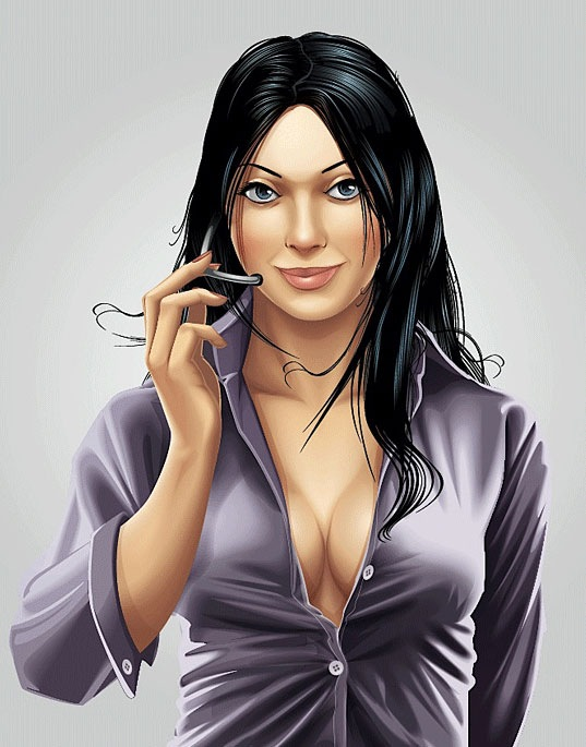 Portrait Illustration of a Call Center Girl