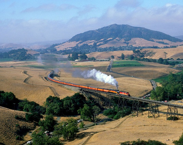 Train heads north from San Luis Obispo at California, USA