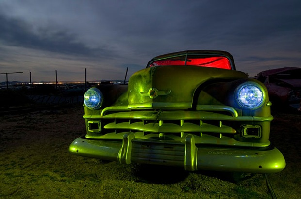 Old-vehicle-in-abandoned-land HDR Night photography