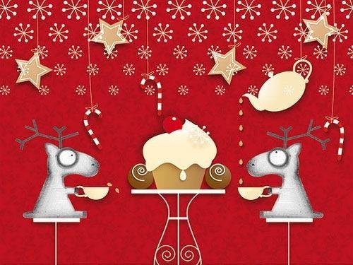Red Christmas Decorative Desktop Wallpaper