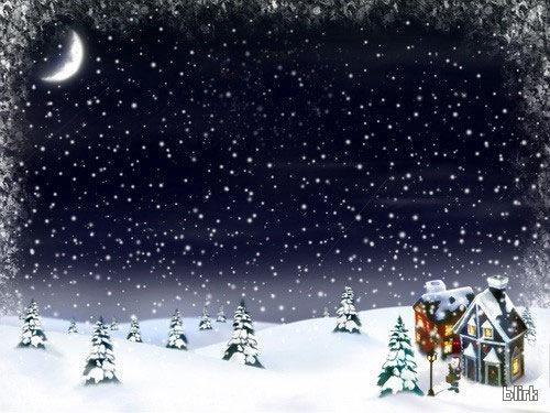 Christmas Snow in Moonlight Wallpaper