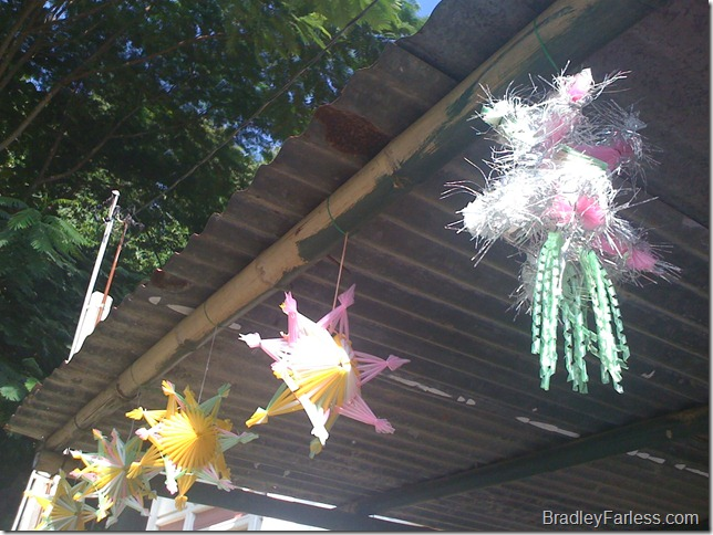 Homemade Christmas decorations in the Philippines.