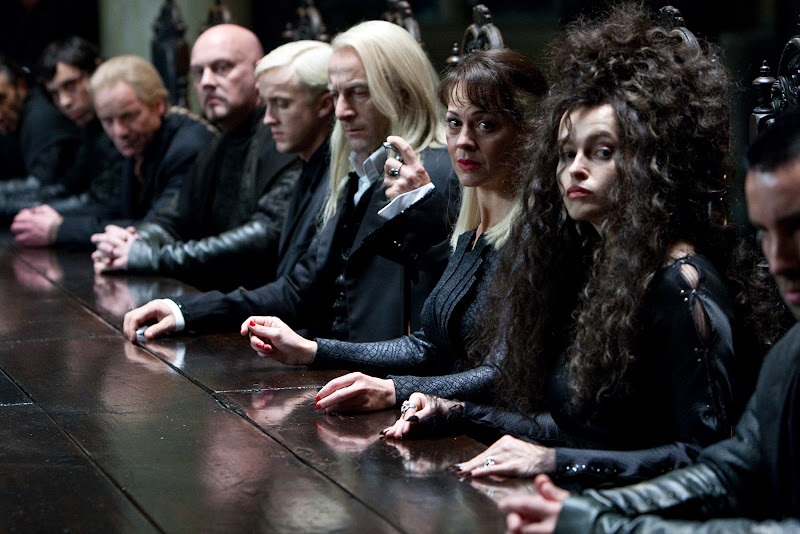 Tom Felton is Draco Malfoy, Jason Isaacs is Lucius Malfoy, Helen McCrory is Narcissa Malfoy and Helena Bonham Carter is Bellatrix LeStrange - Harry Potter and the Deathly Hallows