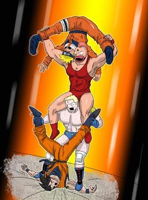 Fan Art de Musculman, Naruto y Goku por Albert Mestres