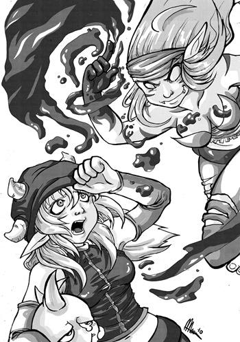 Sacrogrito VS. Osamodas, Fan Art de DOFUS por Marisa