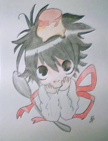 """L"" chibi, Fan Art de Death Note por Dolores Hernández"