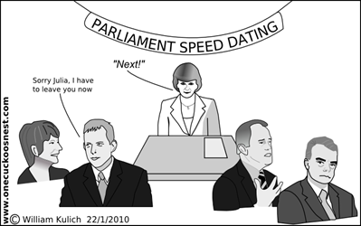 Parliament Speed Dating Cartoon by William Kulich www.onecuckoosnest.com