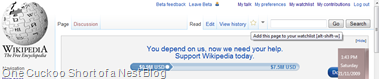 Wikipedia Watchlist Button Screenshot