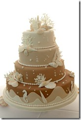 Shells and Coral Tan Tropical Themed Wedding Cakes