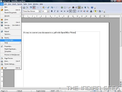 OpenOffice.org Writer - Export as PDF option