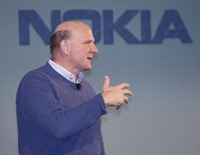 Microsoft CEO Steve Ballmer addresses the Senior Leadership Event before they announce plans for a broad strategic partnership to build a new global mobile ecosystem . Nokia and Microsoft plan to form a broad strategic partnership that would use their complementary strengths and expertise to create a new global mobile ecosystem.