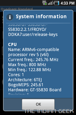 Samsung Galaxy Ace S5830 screenshot - CPU throttled to 245 Mhz