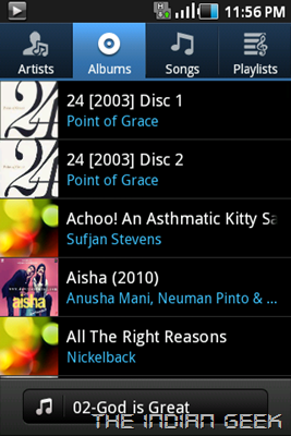 Samsung Galaxy Ace S5830 screenshot - Music app 02