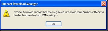 Solution For--Internet Download Manager has been registered with a fake serial number