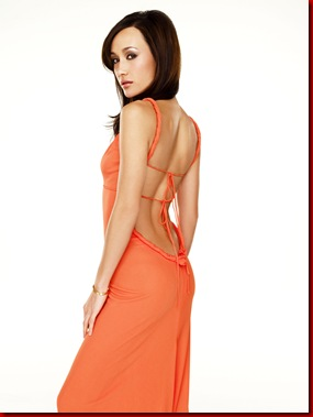 Pictured: Maggie Q . Orange Dress by Joanna Mastrioanni
