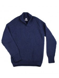 Blue 8 ply cashmere shawl neck jumper.jpeg