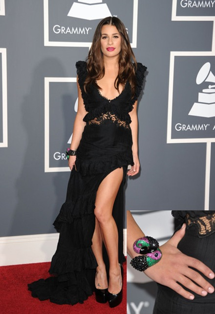 Lea Michele gemstone bracelet at Grammy Awards 2011
