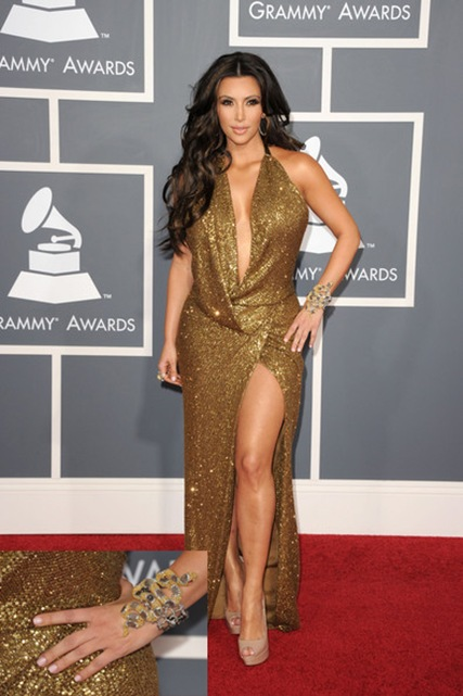 Kim Kardashian serpent bracelet at Grammys 2011