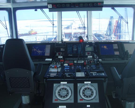 Mikhail Uljanov Muuga sadamas, vaade navigatsioonisillast