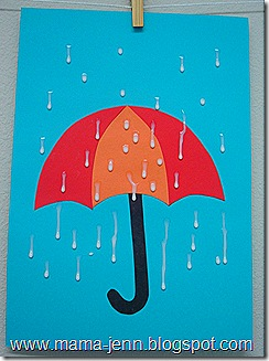 Umbrella on a Rainy Day Craft from Mama Jenn