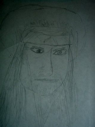 Sketch of Willie Nelson