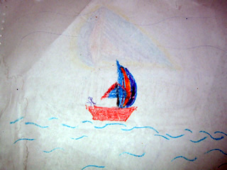 Drawing of a Crayon Sailboat on the Ocean