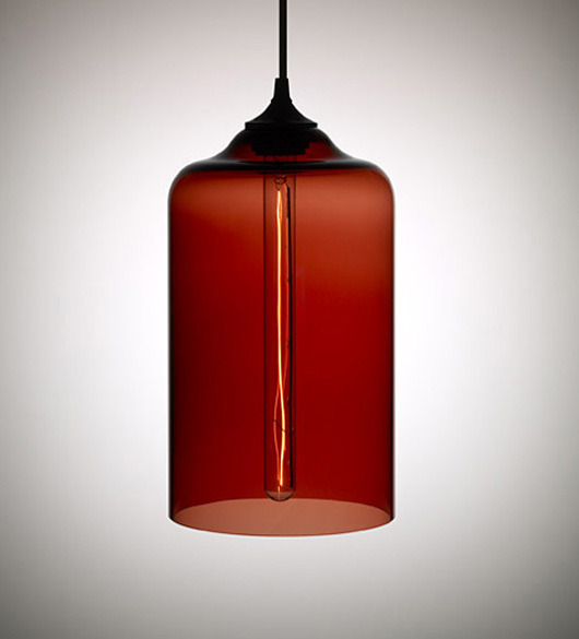 Single blown clear glass pendant light